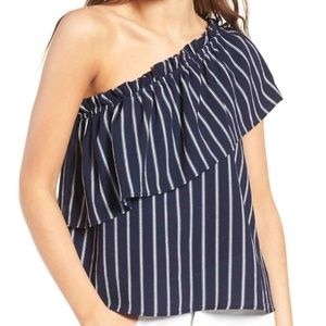 BP navy striped one shoulder top